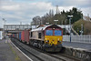 A landslide at Harbury has led to the diversion of a number of freights to and from the Southampton area being diverted around London.<br /> EWS liveried 66082 brings the diverted 4O43 freightliner from Birch Coppice Sdg to Eastleigh through Iver. <br /> <br /> 4 February 2015