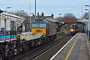 57313 passes Addlestone as Desiro 450078 slows to a halt with 2S44 14.33 service from Weybridge to Waterloo<br /> <br /> 5 January 2015