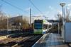 Croydon Tramlink  CR4000  tram No.2547 bound for Wimbledon rolls to a halt at Ampere Way<br /> <br /> 8 January 2015