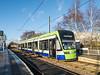Croydon Tramlink Stadler  Variobahn tram No.2556  halts at Ampere Way with a service to  New Addington<br /> <br /> 8 January 2015