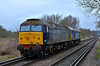 DRS duo 57310 'Pride of Cumbria' and 57011 pass Chertsey Meads working 0Z68 from Eastleigh Arlington to Willesden Brent via Woking <br /> <br /> Looks like 57011 may need a trip to the carriage washers!<br /> <br /> 9 March 2015