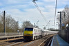 Class 91 No.91132 heads north through Welham Green with  1S18 the  13.00  Kings Cross to Edinburgh service.<br /> <br /> 10 March 2015