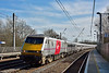 91106  sports its Virgin branding alongside the former East Coast liveried set as it races north through Welham Green with1D16  the 13.35 service to Leeds<br /> <br /> 10 March 2015