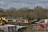 66716 'Locomotive & Carriage Institution' stabled at Tonbridge <br /> At the other end of the SITT is 66769<br /> <br /> 4 March 2015