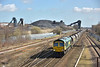 Freightliner 66617 passes Hatfield Colliery with 6F38 bringing loaded coal hoppers from  Hull Kingston Terminal  to Cottam Power Station<br /> <br /> 27 March 2015