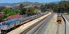 Long shot of the Surfliner, depot in the distance, etc.  The building at near left behind the train is now the UP office.