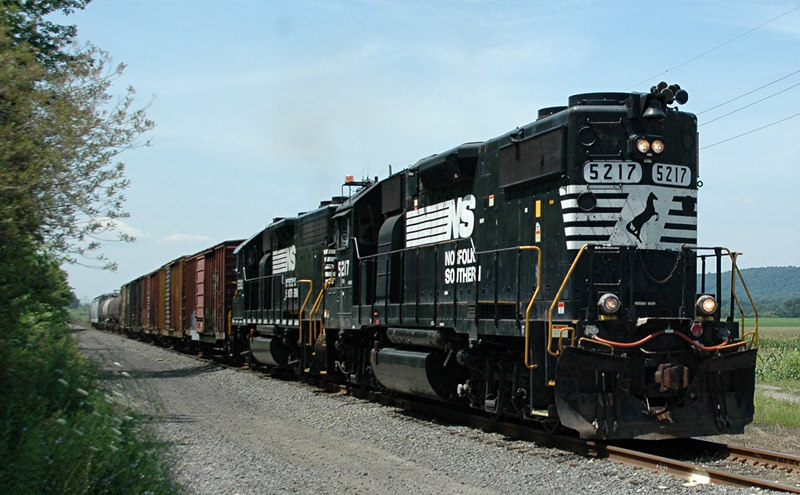 Norfolk Southern GP38-2  5217 & 5201 Head east through Warren County, N.J.  photo taken at the Asbury Rd. crossing