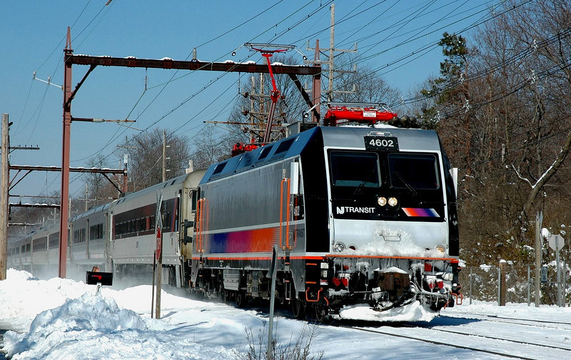New Jersey Transit  (NJT)  ALP 46  4602   On the Morris & Essex Line Photo taken 1 day after almost 2 feet of snow fell