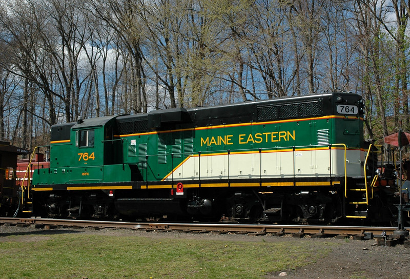 Maine Eastern GP-7  764  received a fresh paint job , this unit will soon be moved to Maine   photo taken at  the Whippany railway  museum