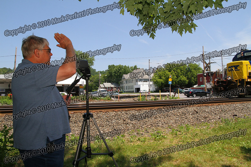 Richard waves to the engineer of the train