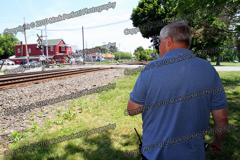 Richard Wingler from Cadyville NY gets ready to video a Westbound train