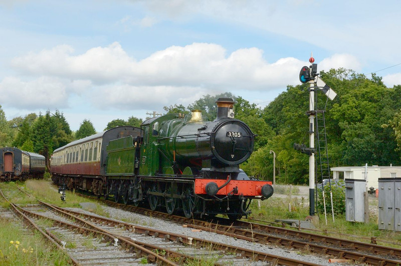 GWR 0-6-0 No 3205 <br /> the sole surviving member of the 120-strong 2251 class of locomotives designed by C. B. Collett <br /> Seen here arriving at Staverton <br /> Dart Valley Railway