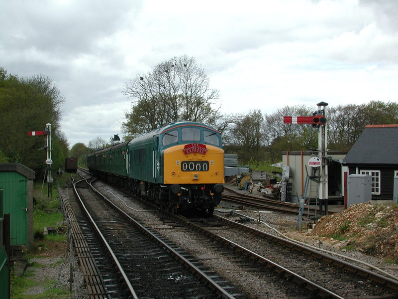 Class 45: 45132 approaching Ropley Mid-Hants Railway, bound for Alton<br /> <br /> 28 April 2002
