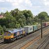 66701 leads 4M23 Felixstowe - Hams Hall north through Kenton<br /> <br /> 5 August 2011