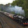 BR Britannia Class 7MT 4-6-2 No 70000 Britannia passes Sheerwater on the outskirts of Woking with 1Z34 'The Cathedrals Express' from Southend-Salisbury<br /> <br /> 31 August 2011