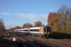Desiro 444031 speeds through Hersham bound for Waterloo<br /> <br /> 15 December 2011
