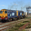 DRS liveried 20308+20309  depart from Dungeness for Sellafield with 6M95 Dungeness - Willesden<br /> <br /> 4 July 2011