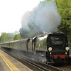 SR Light Pacific 4-6-2 No 34067 Tangmere races through Kemsing with 1Z82 The Cathedrals Express from Victoria-Hastings<br /> <br /> 21 June 2011