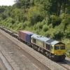 66955 hauls a lightly loaded 4O24 Bristol FLT - Thamesport through Ruscombe<br /> <br /> 14 June 2011