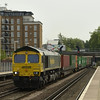 66956 rumbles through Kensington Olympia with 4E24 Grain to Leeds freightliner<br /> <br /> 6 May 2011