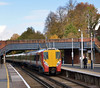 Juniper 8017 draws into Virginia Water with the 12.20 service from Waterloo - Reading<br /> <br /> 1 November 2011
