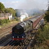 BR Britannia Class 4-6-2 No 70013 Oliver Cromwell makes a sharp getaway from Basingstoke with 1Z94  The Dorset Coast Express<br /> <br /> 13 September 2011