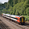 159001 is in charge of the 14.47 Salisbury - Waterloo as it drones through Deepcut<br /> <br /> 10 August 2012