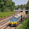 59004 leans to the curve at Pirbright with 7V12 15:38 Woking  to Merehead Quarry empties<br /> <br /> 10 August 2012