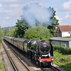 70000 Britannia pulling away from Chertsey with The Cathedrals Express from London Victoria - Swanage<br /> <br /> 14 June 2012