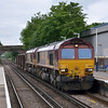 66012 + 66081 and a short rake of hoppers passes Ashford (Mx) with 6Y41 09:02 Eastleigh Yard - Hoo Junction Yard<br /> <br /> 6 June 2012