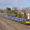 66304 heads south through Kenton with 4L48 - Daventry - Tilbury 'Tesco express'<br /> <br /> 8 March 2012