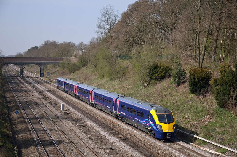 Adelante 180106 returns to GWML after refit and paint job for FGW<br /> Test running took place between Paddington and Oxford, seen here departing Twyford with 5Z31 from Oxford<br /> <br /> <br /> 29 March 2012