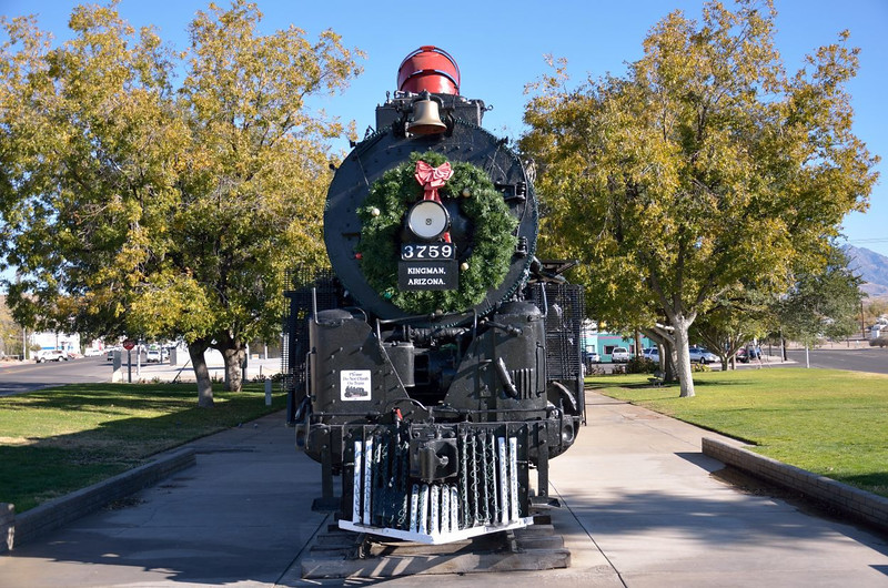Atchison, Topeka and Santa Fe Railway 4-8-4, No.3759 built by Baldwin in 1928 <br /> Dressed with Christmas lights on display in Locomotive Park, Kingman, Arizona.<br /> <br /> 21 November 2012