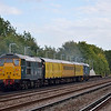 With a clear road ahead, 37419 + 31106 at the rear, pass Hersham with 1Q14 Eastleigh RC - Battersea Loop test train<br /> <br /> 3 October 2012