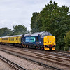 Throbbing away beautifully,37419 + 31106<br /> bring 1Q14 08.31 Eastleigh RC - Battersea Loop test train up the SWML past Hersham<br /> <br /> 3 October 2012