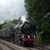 BR Britannia Class 4-6-2 No 70013 Oliver Cromwell<br /> crosses Addlestone Moor with 1Z86 The Swanage Belle from Victoria<br /> <br /> 11 October 2012