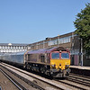 66099 draws through Eastleigh station with 4O40 08.21 BMW Oxford  - Southampton E.Docks car carriers<br /> <br /> 5 September 2012