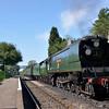 Time warp nostalgia ...<br />  West Country Class No.34007 Wadebridge halts at Medstead with an Alton bound train<br /> <br /> 5 September 2012