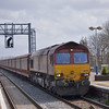 66009 slows to a halt at Didcot with 6M48 from Southampton E.Docks - Halewood car carriers.<br /> <br /> 15 April 2013