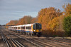 The lineside trees are ablaze with colour as 444040  speeds  through Hersham with 1T32, the 09.17 service from Portsmouth Harbour and Brockenhurst to London Waterloo<br /> <br /> 8 December 2013