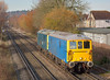 73109 + 73208 with 0Y67 light engine move from Hoo Junction to Eastleigh, seen here passing St Johns Way Chertsey<br /> <br /> 9 December 2013