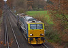 MPV DR98973/923 crosses Chertsey Meads with 3S80 treatment train on a circular trip from Effingham Junction <br /> <br /> 7 December 2013