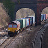 Shed 66221 makes slow progress through Purley on Thames with 4M66  Southampton W.Docks - Birch Coppice freightliner<br /> <br /> 7 February 2013