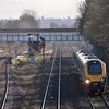 Cross Country Voyager races through Tilehurst <br /> with train 1E40  the 1140 service from Reading to Newcastle<br /> <br /> 15 February 2013