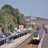 Gone!<br /> A First Great Western HST rolls into Dawlish with 1C77 the 10.06 from Paddington to Penzance.<br /> No, not the HST!<br /> Dawlish signal box has been removed - all that is left is the blue plastic fencing on the Up platform<br /> <br /> 8 July 2013
