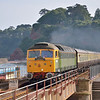 """Steam substitute!<br /> Class 47 diesel D1916 (47812) in Riviera Trains """"heritage"""" BR Green livery races through Dawlish with The Torbay Express. <br /> The Class 47 was used following imposition of a steam ban due to the spell of hot dry weather.<br /> Sad for some, but at least it tried to make up with some 'clag' for the die-hards!<br /> <br /> 7 July 2013"""