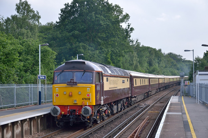 47832 is on the rear of The Northern Belle ECS as it passes Virginia Water for Ascot. <br /> The return working 1Z48 was an Ascot Ladies Day special at 18.06 for Manchester Victoria. <br /> Sadly my plan to photograph the return was scuppered by a Reading bound service passing at just the wrong moment near Egham<br /> <br /> 20 June 2013