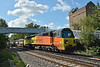 Colas 70802 passes Coxes Lock with 6Y41 departmental working from Eastleigh Yd - Hoo Junction Up Yd, <br /> <br /> 20 August 2014