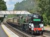 Merchant Navy 35028 'Clan Line'  storms through Worplesdon with The Belmond Pullman luncheon train around the Surrey Hills.<br /> <br /> 22 August 2014