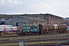 Classic 'Gronk' 08947 shunts a lone TDA tank in the yard at Eastleigh<br /> <br /> 27 February 2014